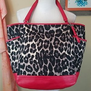 Coach Park Ocelot Red Leather Large Tote